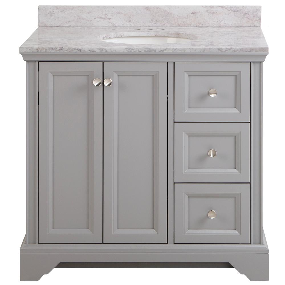 Home Decorators Collection Stratfield 37 in. W x 22 in. D Bath Vanity in Sterling Gray with Stone Effect Vanity Top in Winter Mist with White Sink