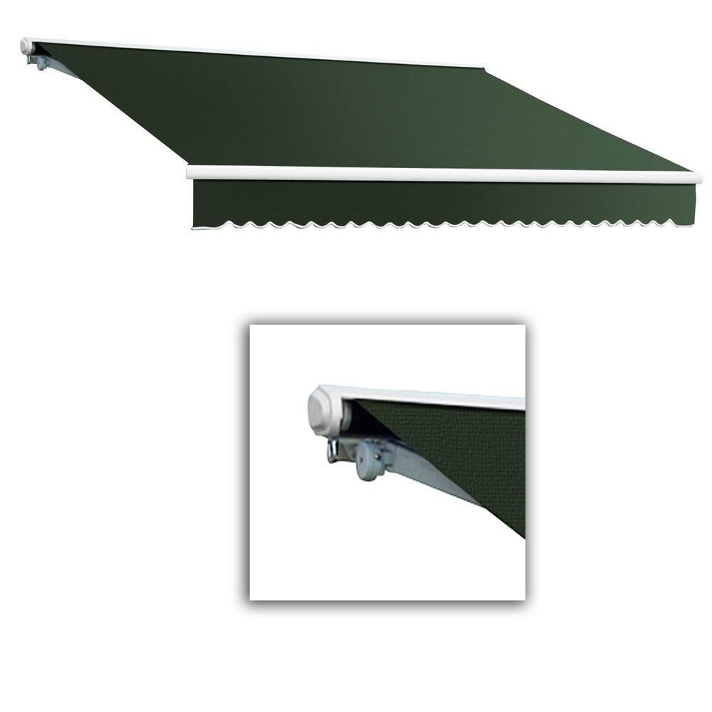 AWNTECH 24 ft. Galveston Semi-Cassette Right Motor with Remote Retractable Awning (120 in. Projection) in Olive or Alpine