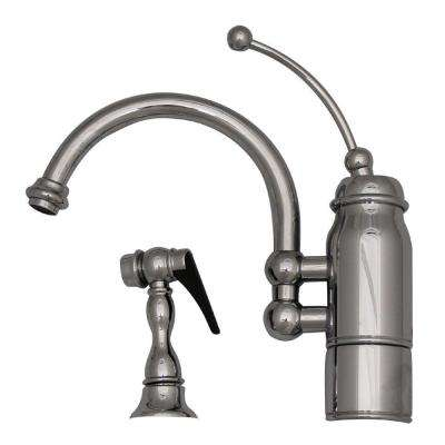 Single-Handle Standard Kitchen Faucet with Side Sprayer in Polished Chrome