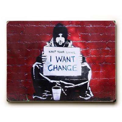 "9 in. x 12 in. ""Keep Your Coins"" by Banksy Solid Wood Wall Art"