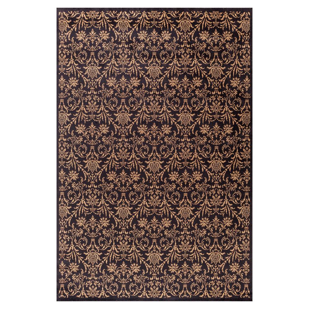 Jewel Damask Black 6 ft. 7 in. x 9 ft. 3