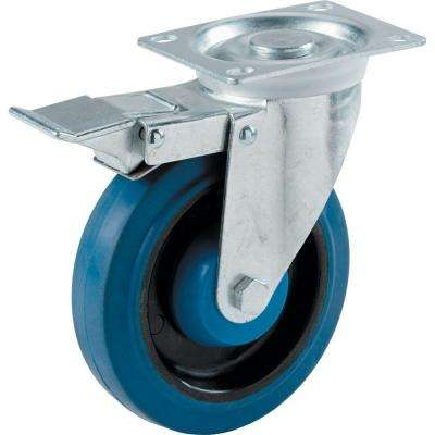 4 in. Blue Elastic Rubber Swivel Plate Caster with 265 lb. Load Rating and Total Lock Brake