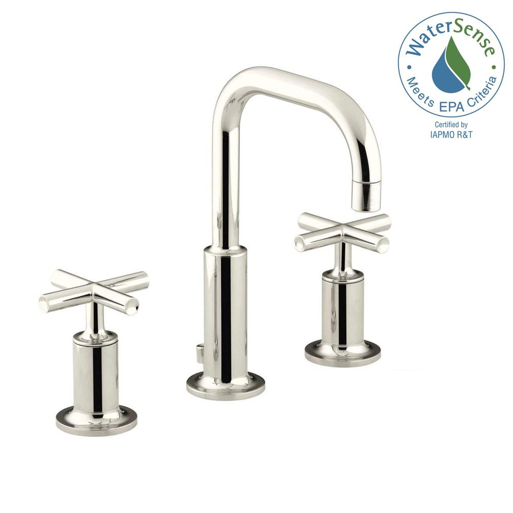 KOHLER Purist 8 in. Widespread 2-Handle Low-Arc Bathroom Faucet in Vibrant Polished Nickel with Low Gooseneck Spout