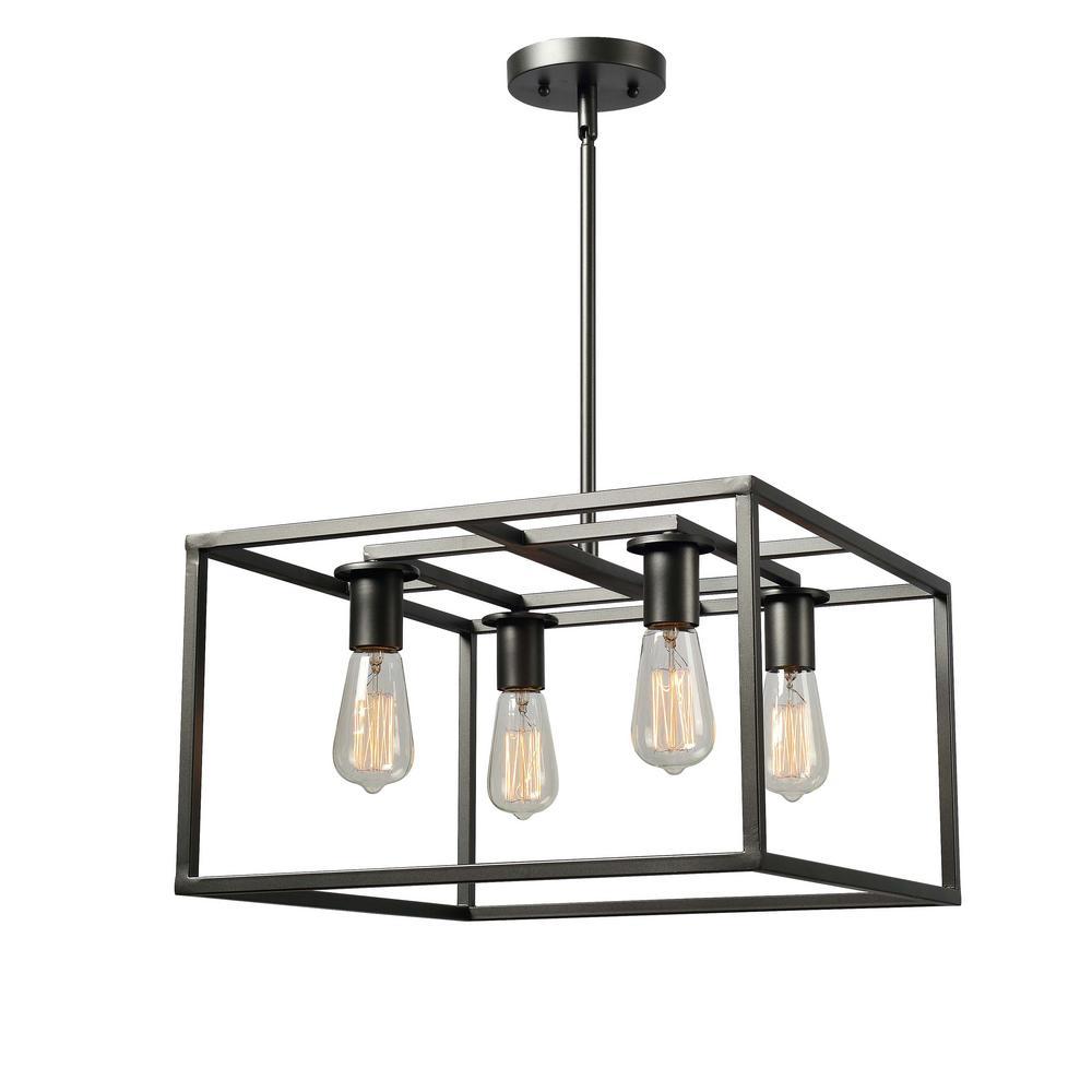 Cubed 4-Light Graphite Chandelier