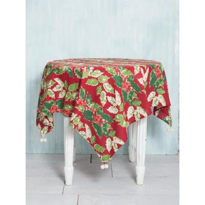 48 in. x 48 in. Jolly Holly Red Tablecloth
