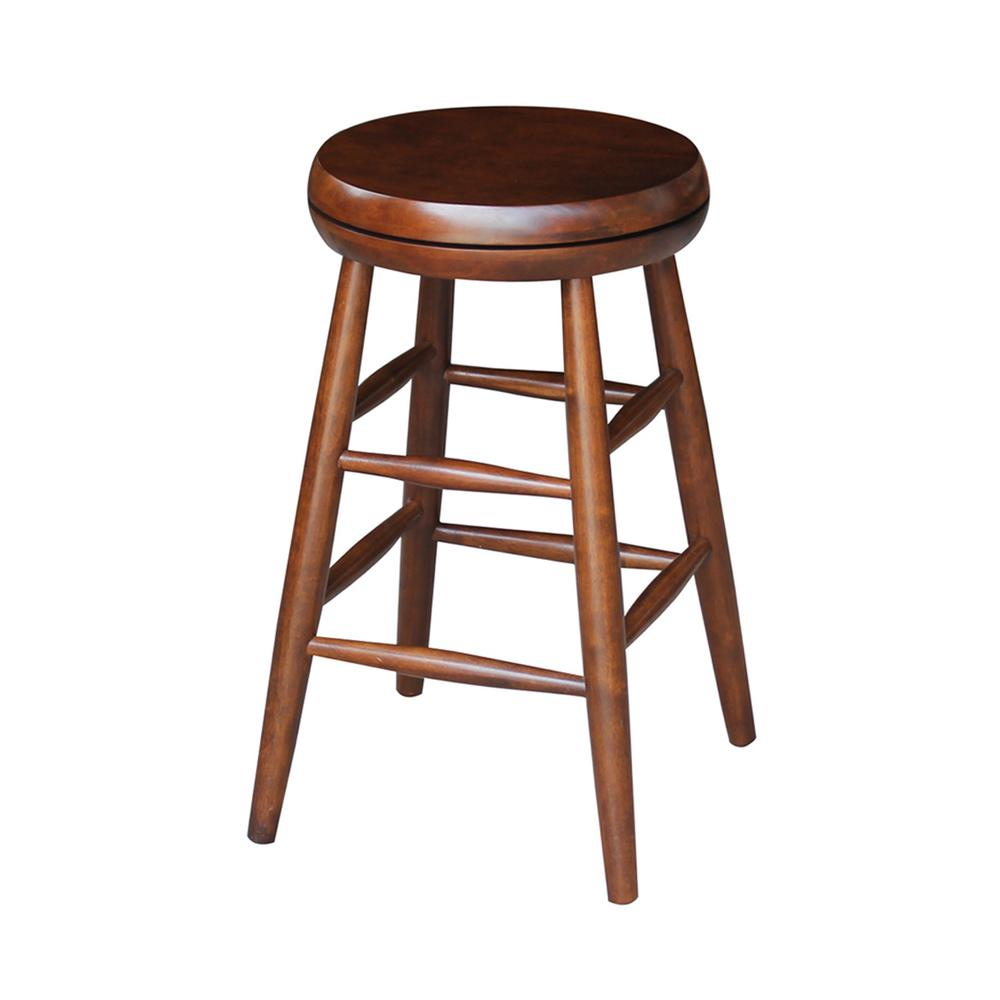 Coffee Bar Stools: International Concepts Scooped Seat 24 In. Espresso Swivel