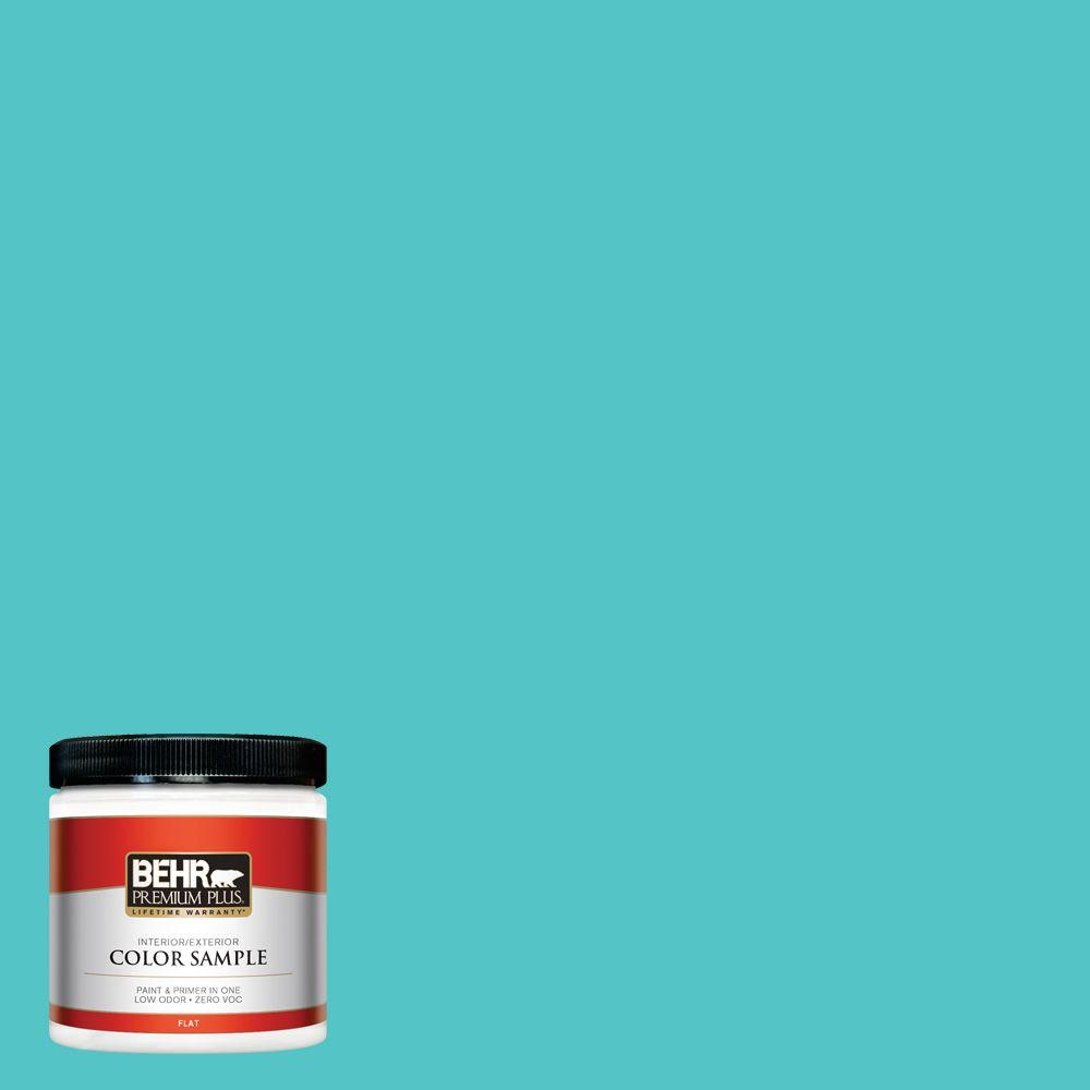 BEHR Premium Plus 8 oz. #500B-4 Gem Turquoise Flat Zero VOC Interior/Exterior Paint and Primer in One Sample