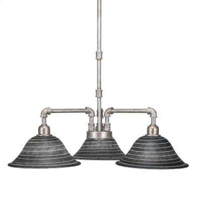3-Light Aged Silver Chandelier with Charcoal Glass Shade