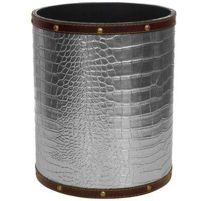 Oriental Furniture 8.25 in. x 10 in. Silver Faux Leather Waste Basket