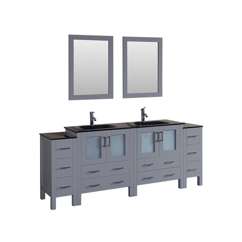 Bosconi 84 in. Double Vanity in Gray with Tempered Glass Vanity Top in Black with Black Basin and Mirror