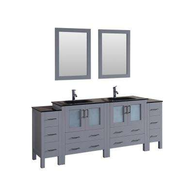 84 in. Double Vanity in Gray with Tempered Glass Vanity Top in Black with Black Basin and Mirror