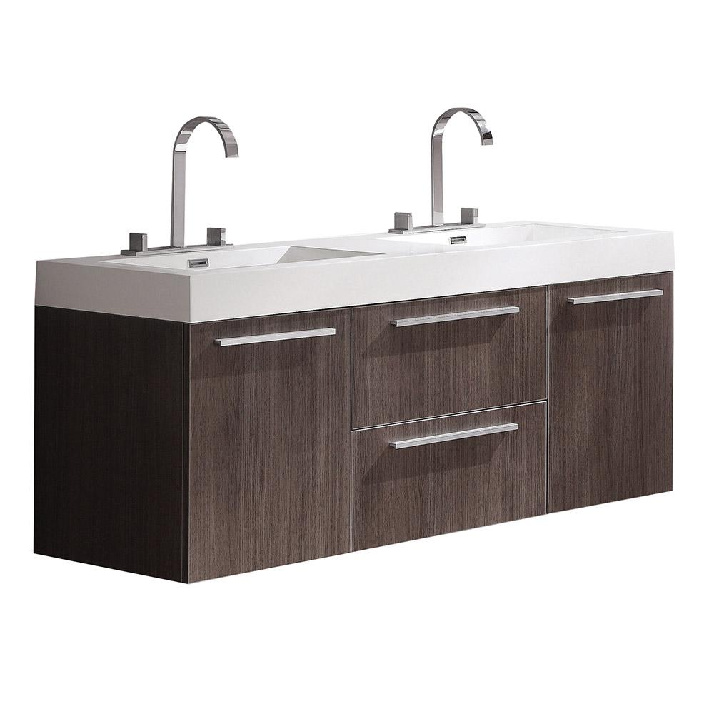 Fresca Opulento 54 in. Double Vanity in Gray Oak with Acrylic Vanity Top in White with White Basins