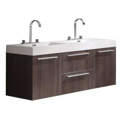 Opulento 54 in. Double Vanity in Gray Oak with Acrylic Vanity Top in White with White Basins