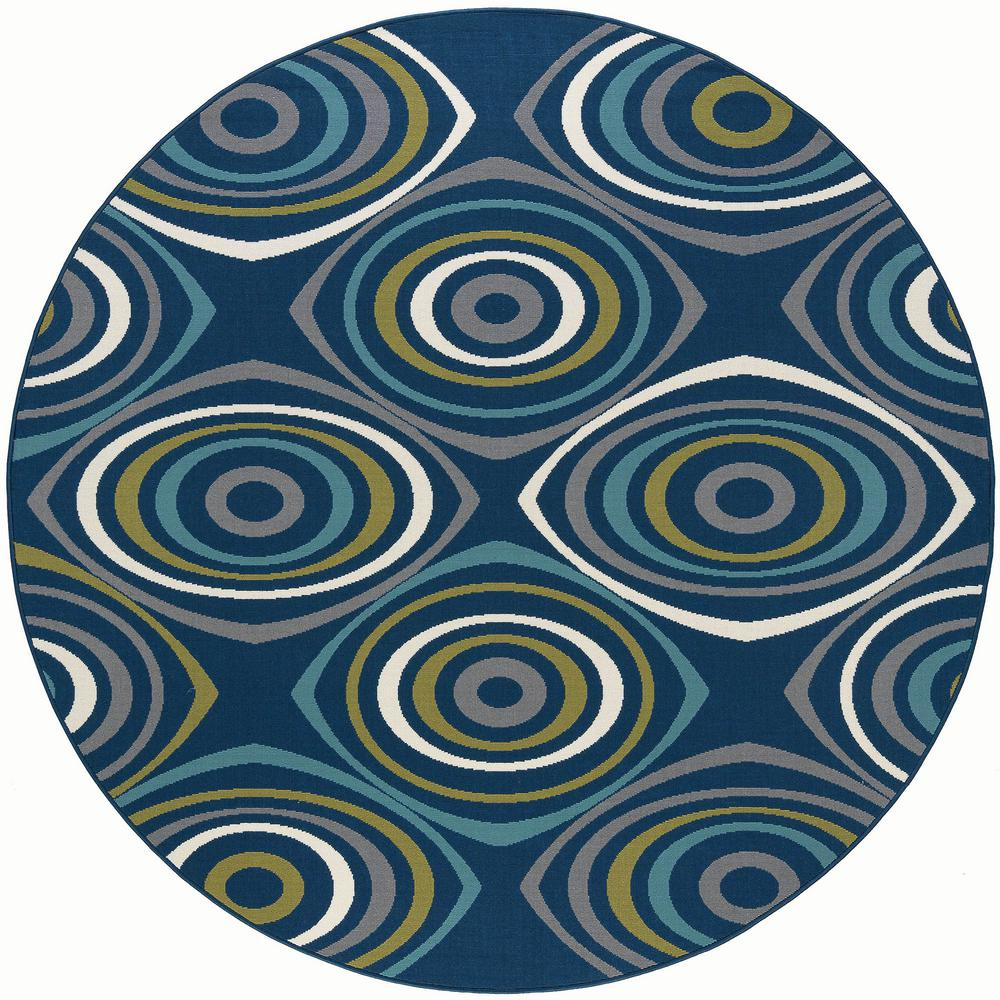 Tayse Rugs Garden City Navy 8 Ft X 8 Ft Round Transitional Area