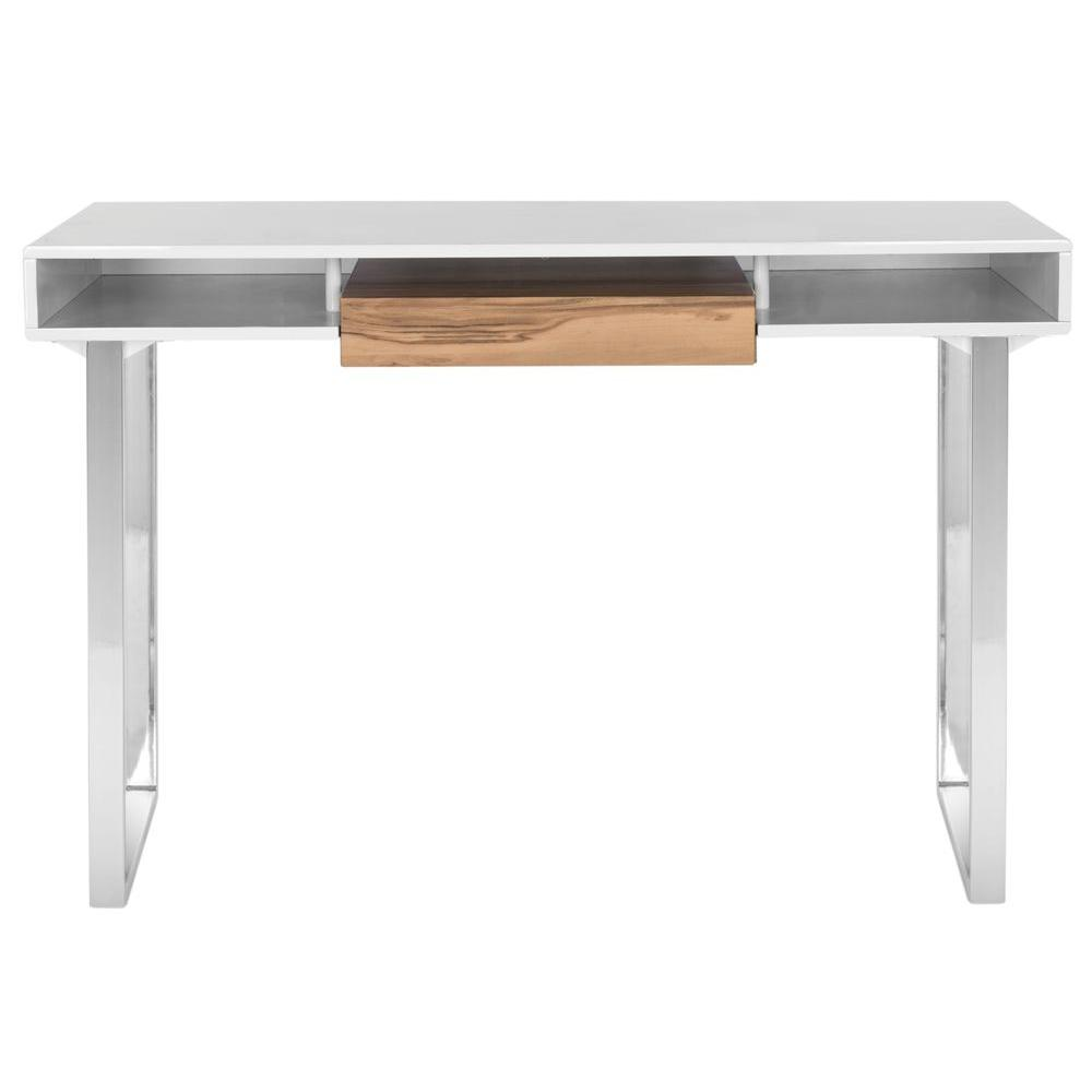 Safavieh Metropolitan White And Chrome Desk Natural Whit