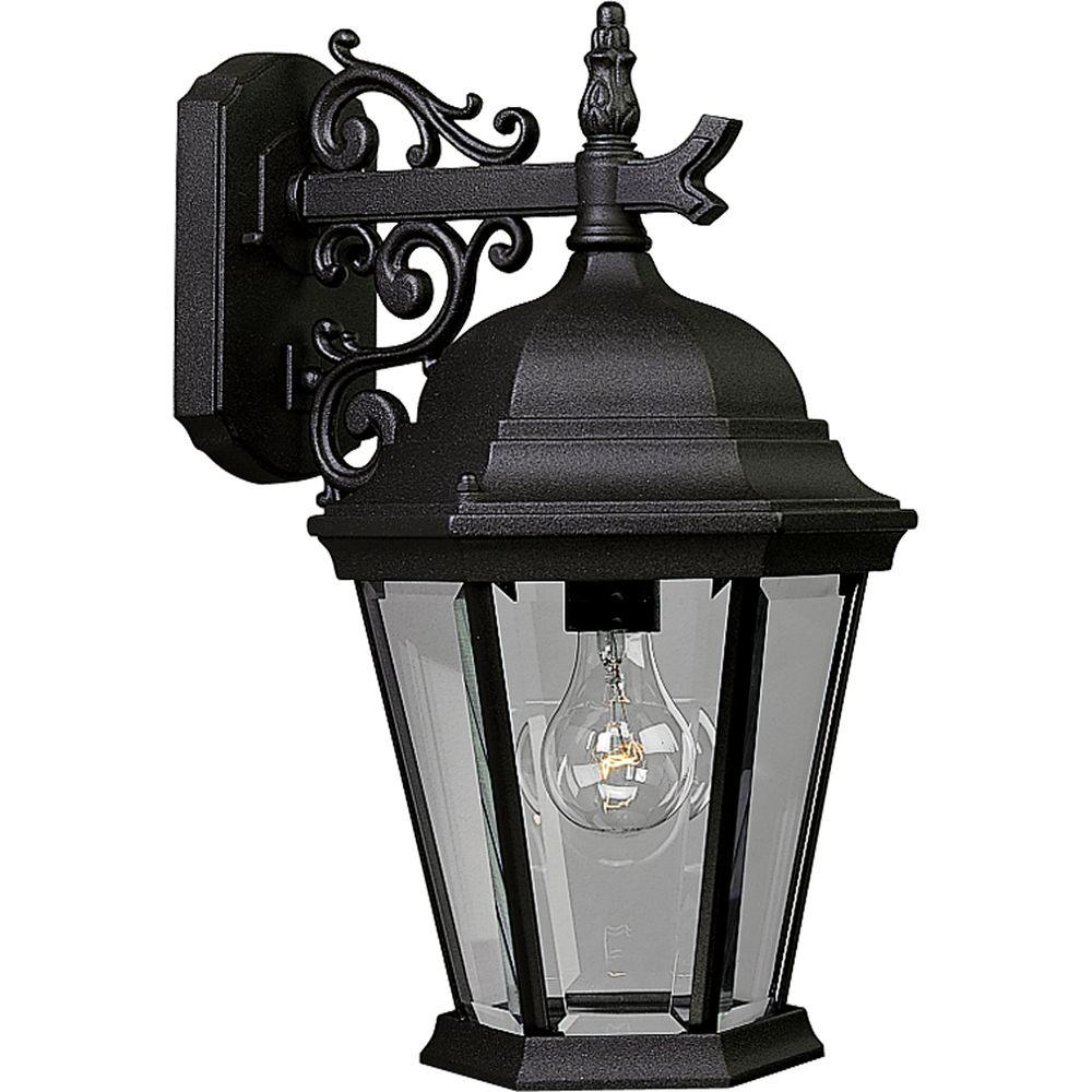 Progress Lighting Welbourne Collection 1 Light Outdoor Textured Black Wall Lantern P5683 31