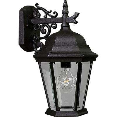 Welbourne Collection 1-Light 18 in. Outdoor Textured Black Wall Lantern