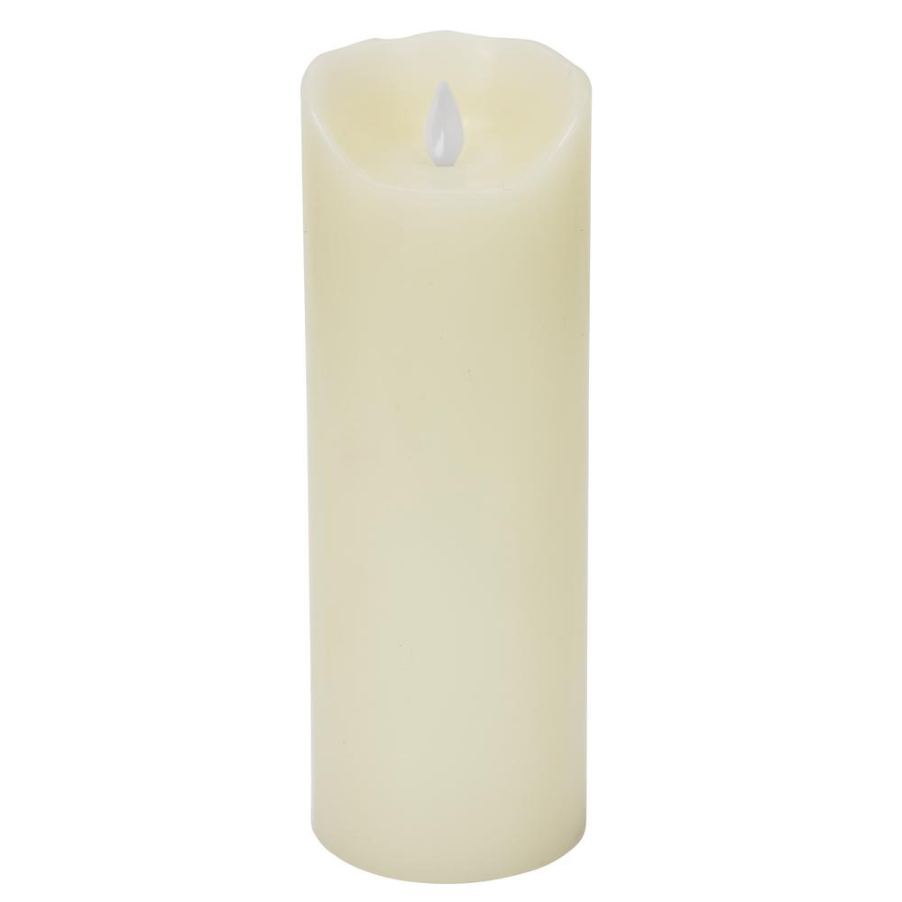 Ivory Flameless Moving Pillar Flame 9 in. Wax