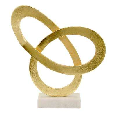 15 in. Gold Metal Sculpture with Marble Base