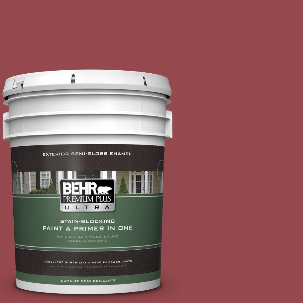 BEHR Premium Plus Ultra 5-gal. #M140-6 Circus Red Semi-Gloss Enamel Exterior Paint