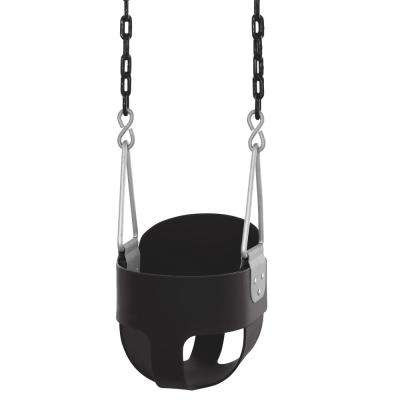 High Back Full Bucket Swing with Vinyl Coated Chain Fully Assembled in Black