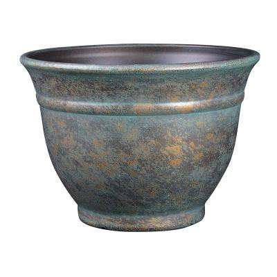 9 in. Weathered Copper Alena Resin Planter