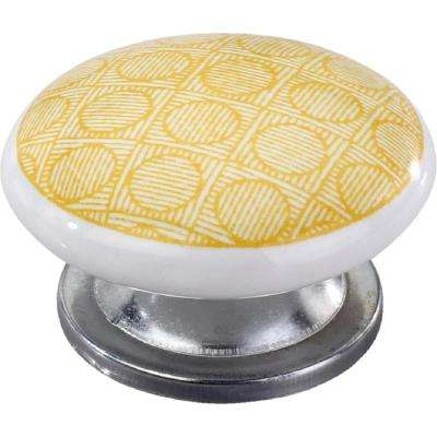 Circle Checkered 1-3/5 in. Yellow Cabinet Knob