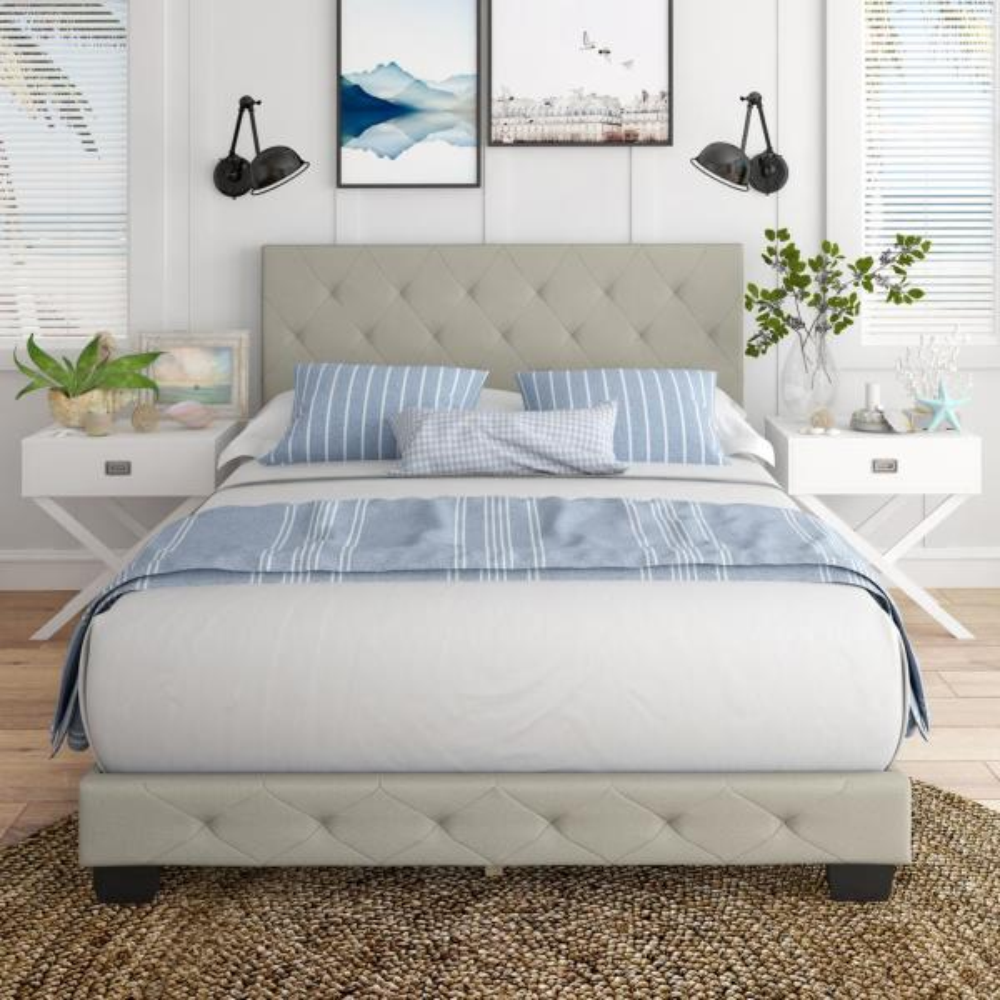 Restrite Charlotte Light Beige Linen, Charlotte Queen Bed