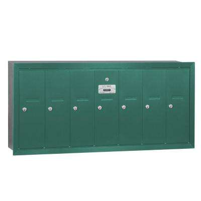 Green Recessed-Mounted USPS Access Vertical Mailbox with 7 Door