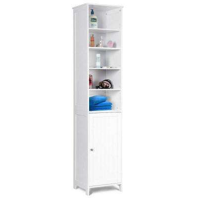 13.5 in. W Bathroom Tall Floor Storage Cabinet Free Standing Shelving Space Saver White