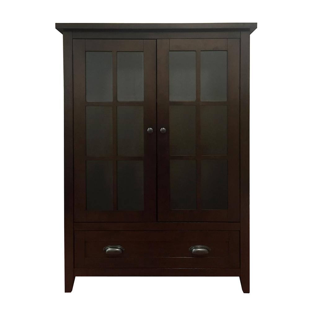 Brookdale Dark Walnut Accent Cabinet with Glass Window-Panel Doors and 1-Drawer