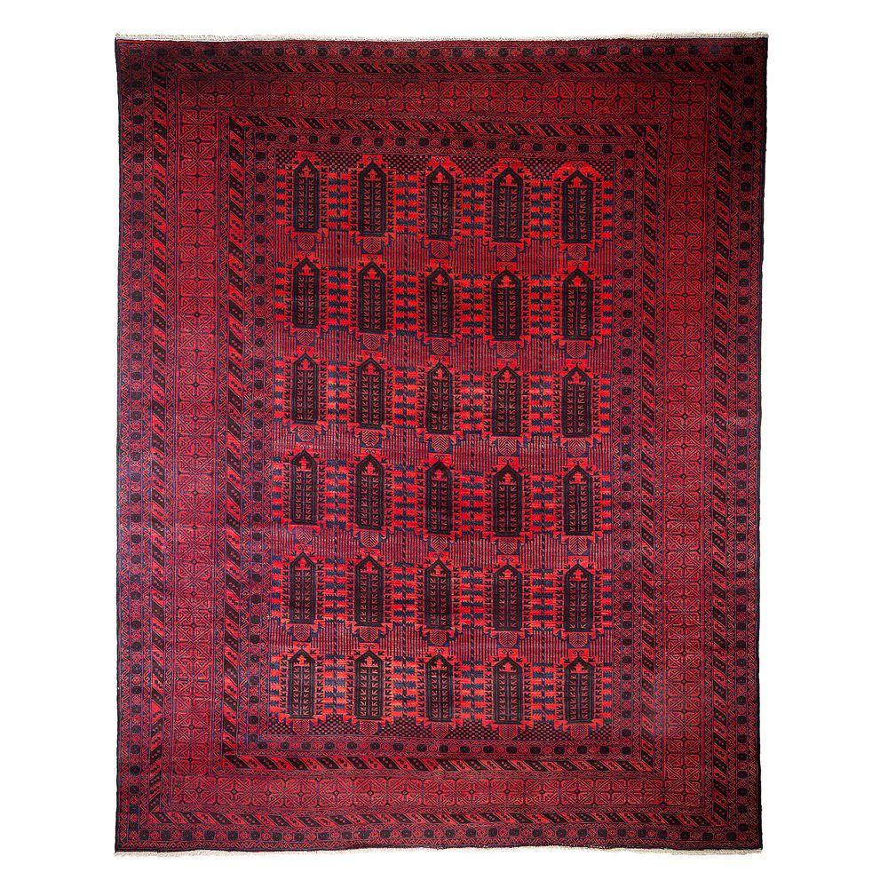 darya rugs tribal red 9 ft 10 in x 12 ft 5 in indoor area rug m1753 93 the home depot. Black Bedroom Furniture Sets. Home Design Ideas