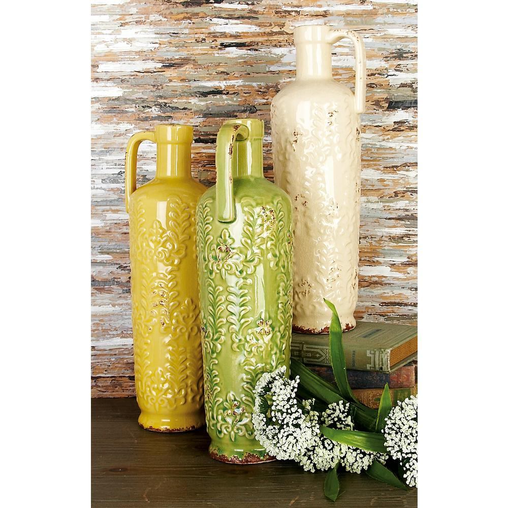 LittonLane Litton Lane 14 in. Ceramic Decorative Vase in Distressed Green, Ivory and Yellow (Set of 3), Multi
