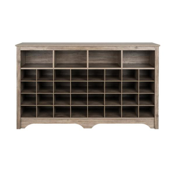 35 in. H x 60 in. W 32-Pair Drifted Gray Laminate Shoe Storage Cabinet with 4-Large Top Shelves