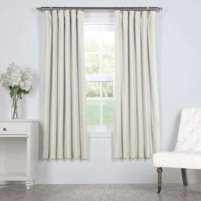 Signature Off White Ivory Blackout Velvet Curtain - 50 in. W x 63 in. L