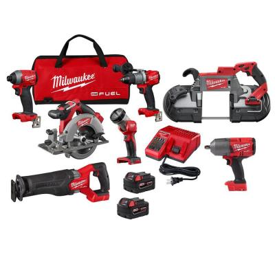 Milwaukee M18 FUEL 18-Volt Lithium-Ion Brushless Cordless Combo Kit (5-Tool) w/ 1/2 in. Impact Wrench and Deep Cut Band Saw