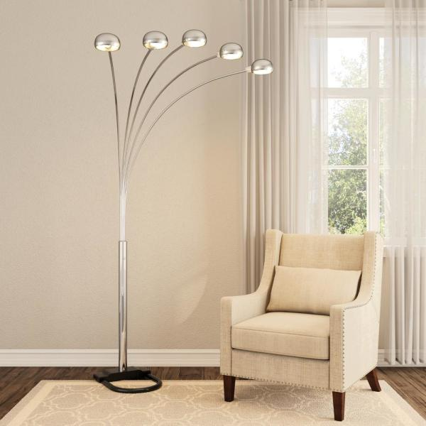 Satin Nickel Arch Floor Lamp 6962sn