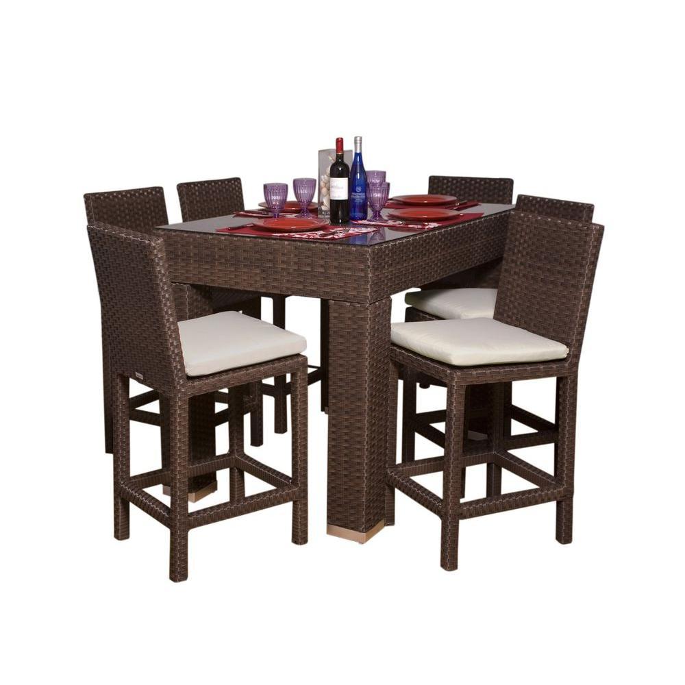 Atlantic Contemporary Lifestyle Monza Rectangular 7-Piece Patio High Dining Set-DISCONTINUED