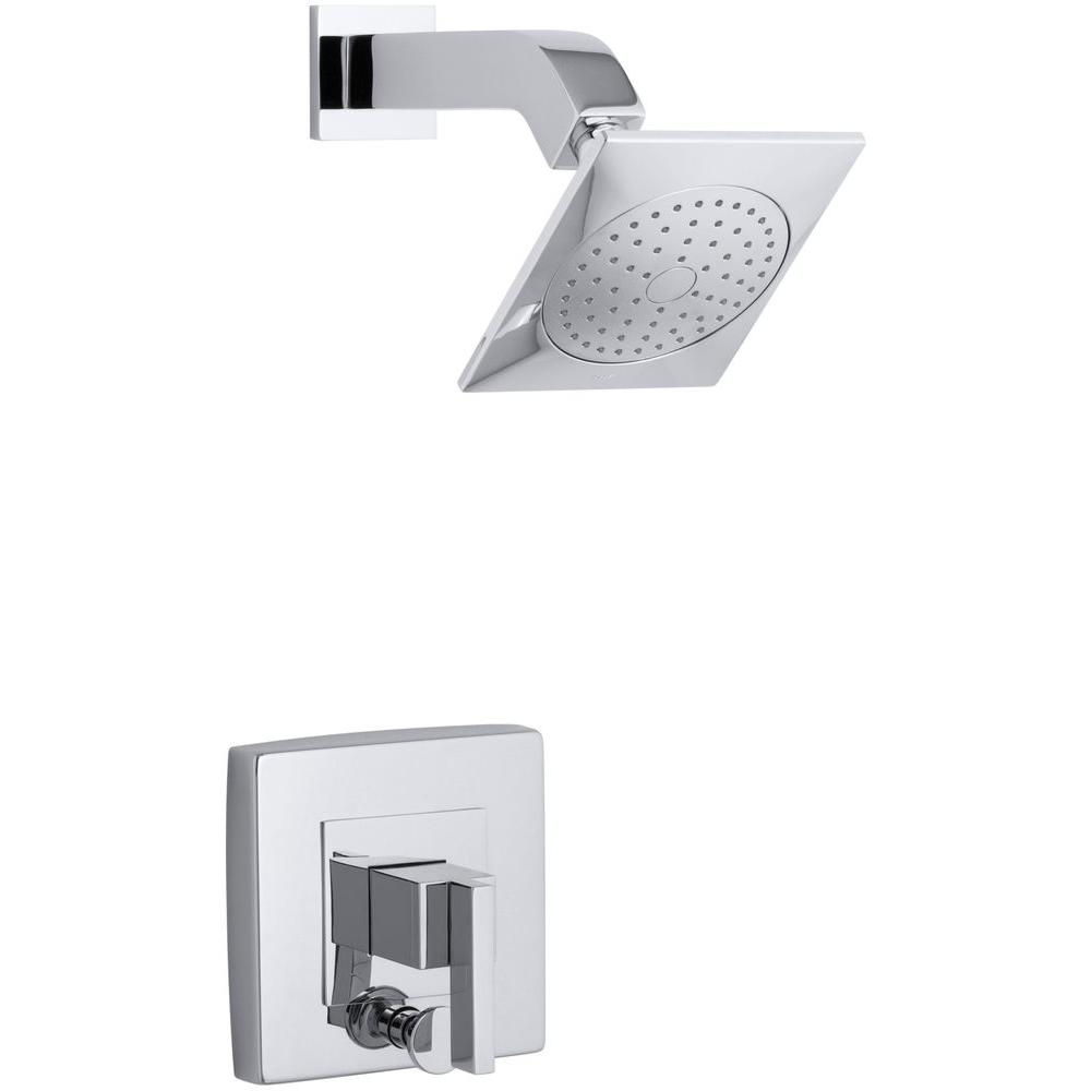 Loure 1-Handle Shower Faucet Trim Kit with Diverter in Polished Chrome
