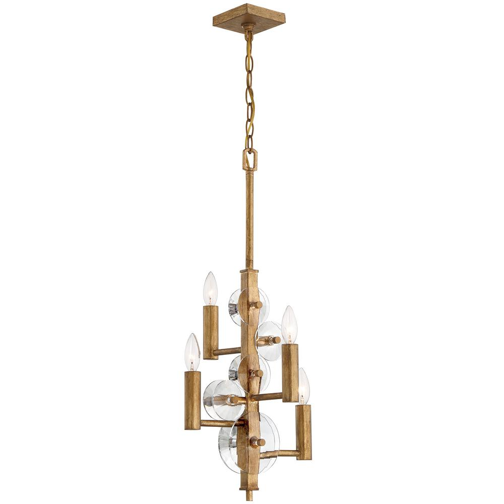 Rogue Decor Engeared 4-Light Antiqued Gold Leaf Chandelier
