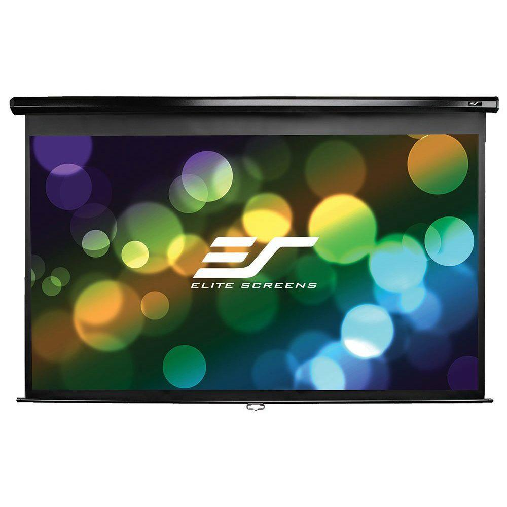 100 in. Manual Pull-Down Wall and Ceiling Projection Screen with Black