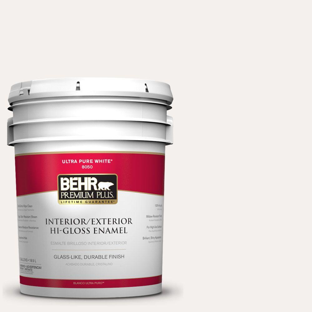 BEHR Premium Plus 5-gal. #W-B-600 Luster White Hi-Gloss E...
