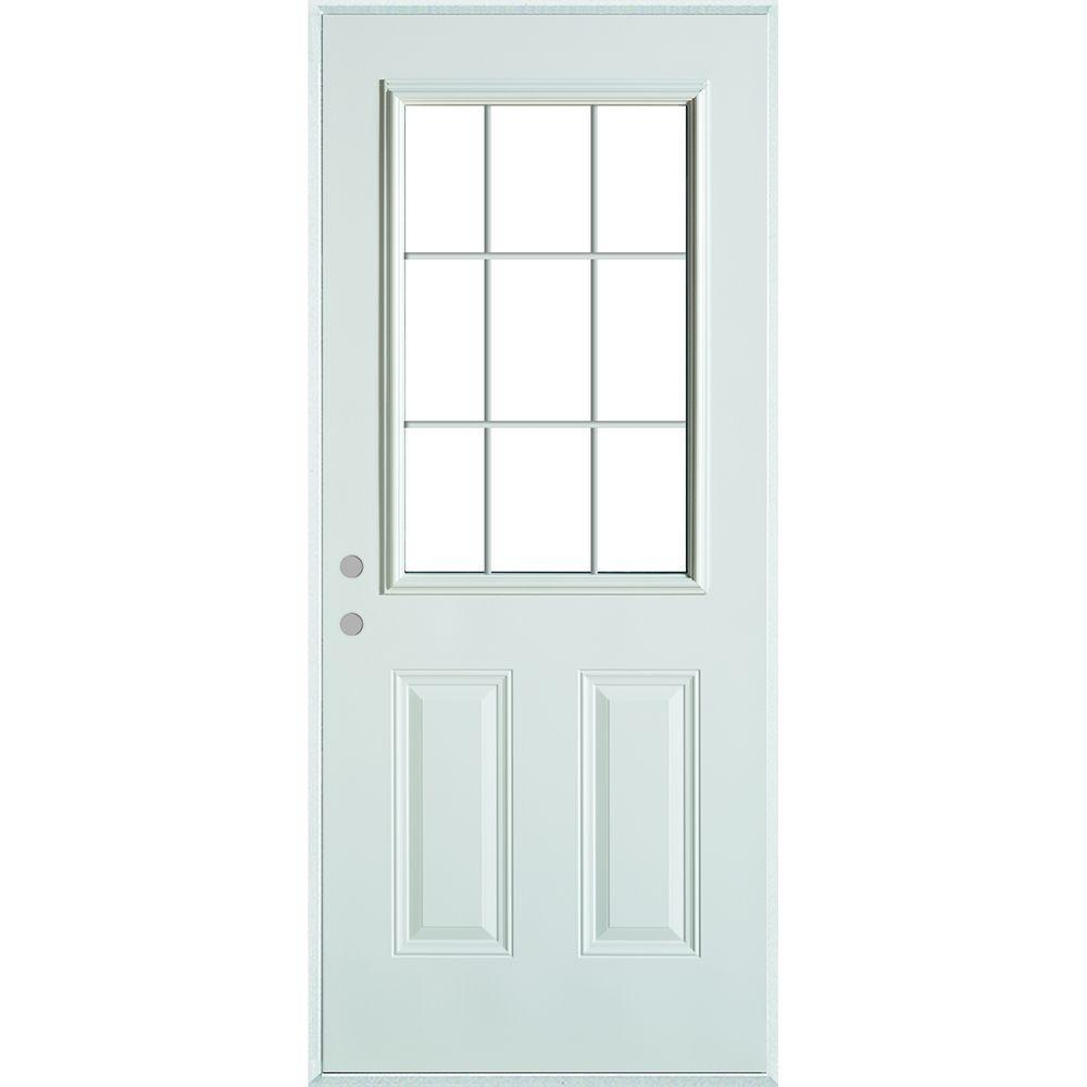 Stanley Doors 32 in. x 80 in. Colonial 9 Lite 2-Panel Painted White Right-Hand Steel Prehung Front Door with Internal Grille/Brickmold-9210S-32-R - The Home ...  sc 1 st  The Home Depot & Stanley Doors 32 in. x 80 in. Colonial 9 Lite 2-Panel Painted White ...