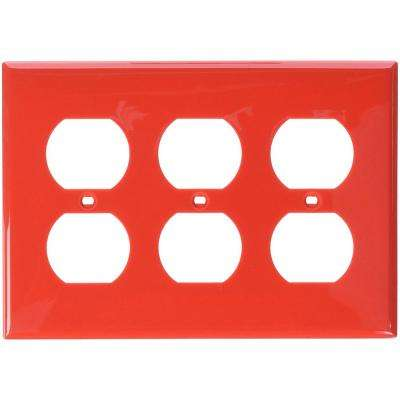 3-Gang 3 Duplex Receptacles, Standard Size Nylon Wall Plate - Red