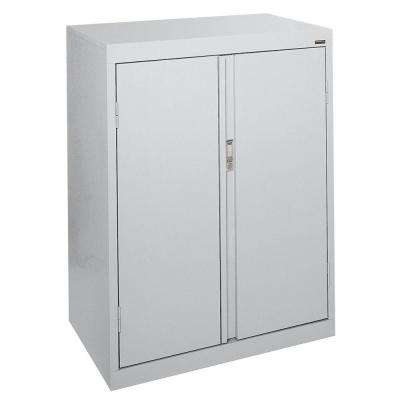 System Series 30 in. W x 42 in. H x 18 in. D Dove Gray Counter Height Storage Cabinet with Fixed Shelves