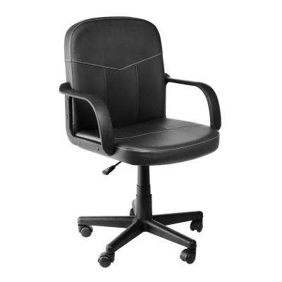 Black Bonded Leather Mid-Back Chair