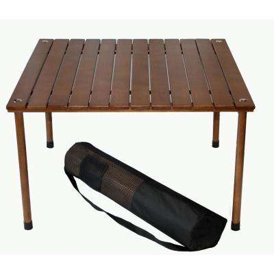 Brown Wood Square Outdoor Picnic Table with Bag