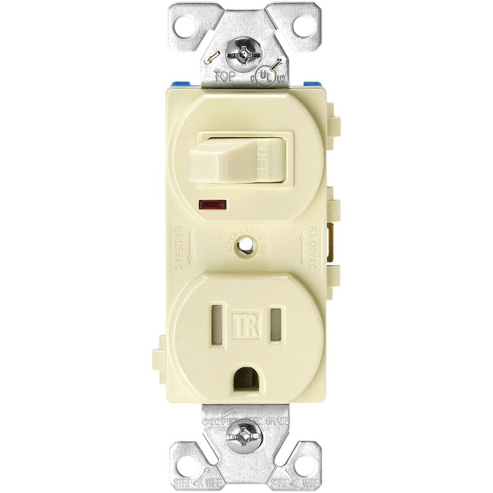 Combo Switch Electrical Outlets Receptacles Wiring Devices Light Rocker 15 Amp 120 Volt 5 3 Wire Combination Receptacle And Toggle