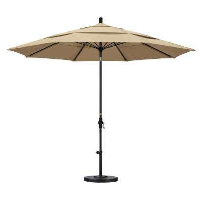 11 ft. Fiberglass Collar Tilt Double Vented Patio Umbrella in Beige Pacifica
