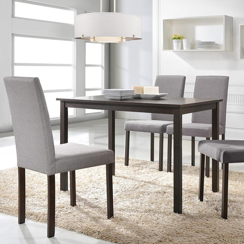 Baxton Studio Andrew 5 Piece Gray Fabric Upholstered Dining Set 5255 6230 Hd The Home Depot